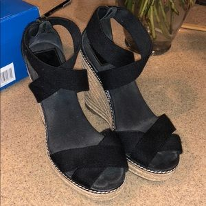 Black Tory Burch Espadrille Wedges